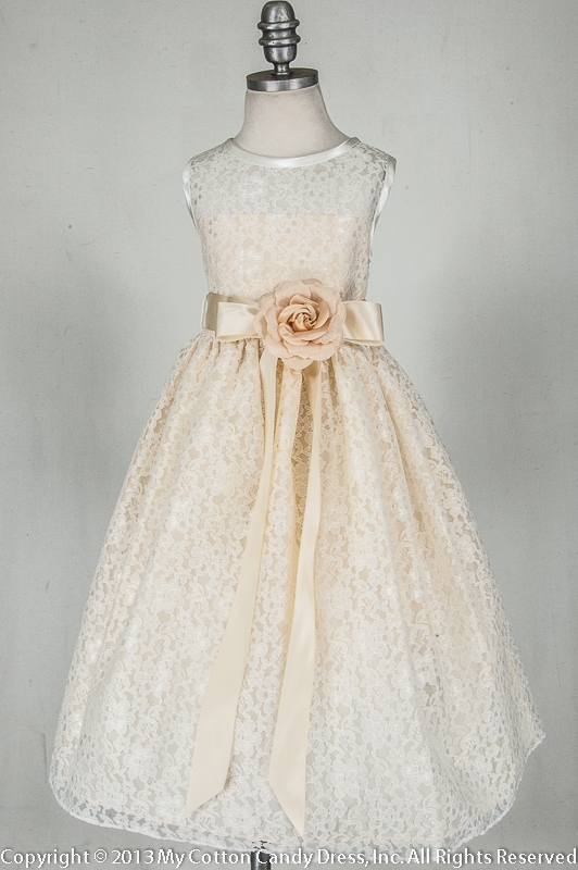 dresses girl Ivory flower champagne