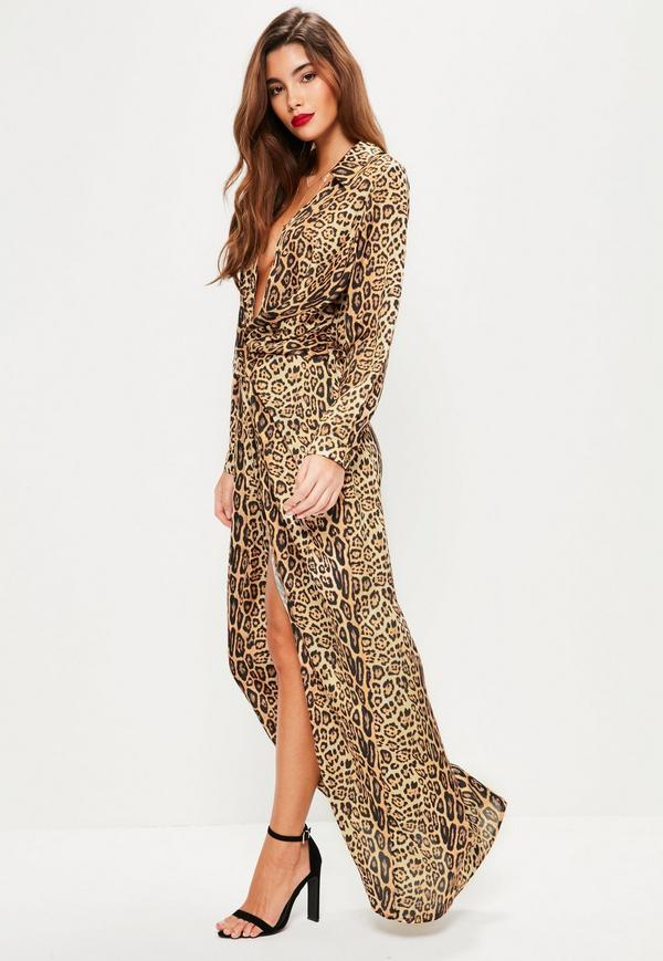 lace up in sneakers for cheap fresh styles Leopard Print Maxi Dress - Nini Dress