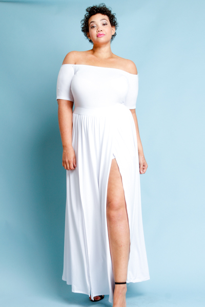 Plus Size White Maxi Dress - Nini Dress