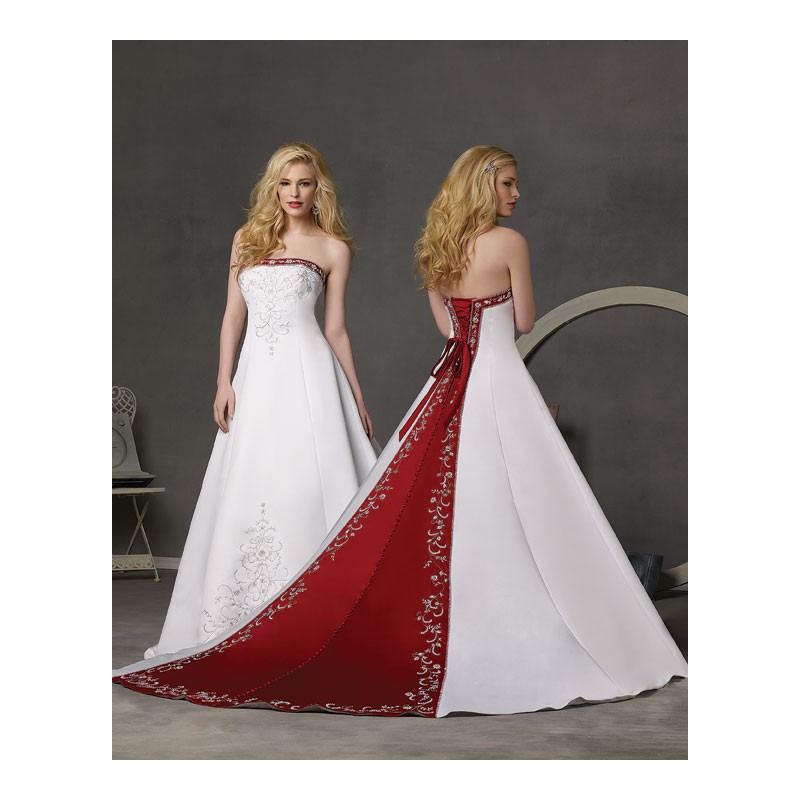 Red and White Bridesmaid Dresses Cheap