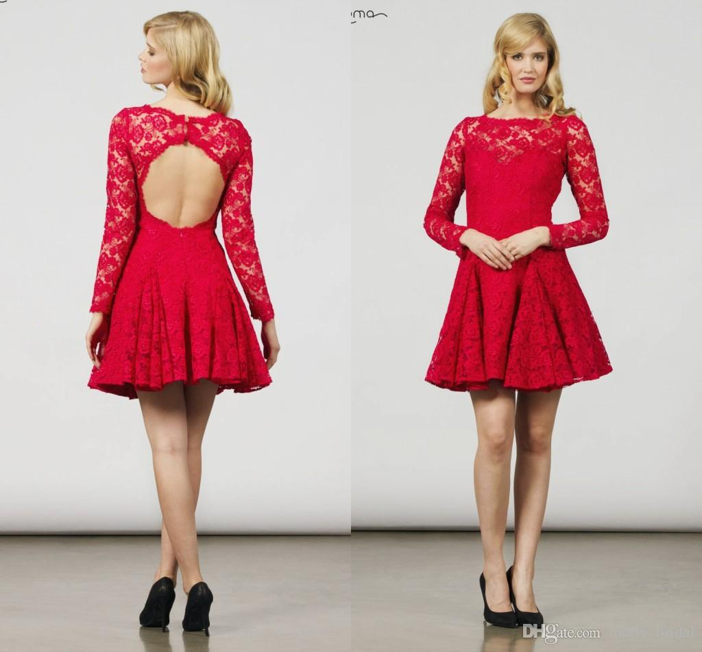 Red Long Sleeve Short Dress